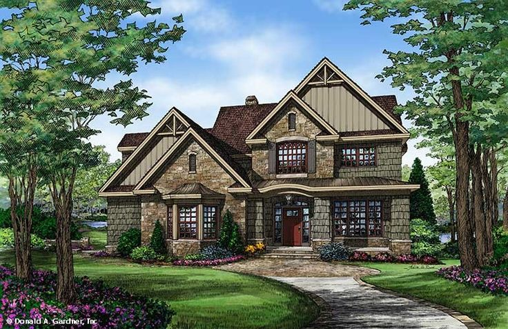 Plan of the week over 2500 sq ft - The Braxton #1343. This two-story Craftsman home welcomes with a stunning curved staircase in the foyer, opposite a study/bedroom.