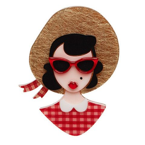 "Erstwilder Limited Edition Picnic Portrait Brooch. ""Decked our in my finest picnic hat and shades. Alright Mr. Designer I'm ready for my close-up."""