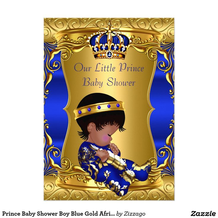 Prince Baby Shower Boy Blue Gold African American Card ...