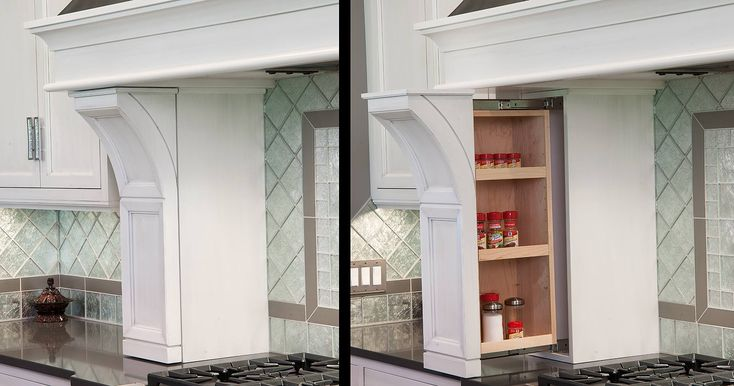 Spice Rack Pullout In The Range Hood Columns Cabinet