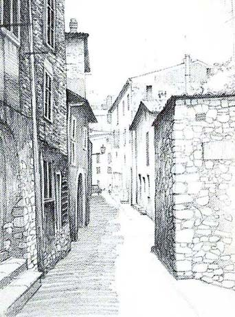 Example of one point perspective drawing on a street image