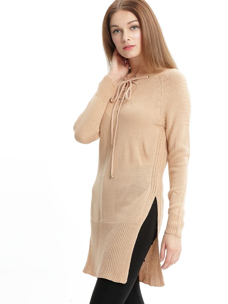 Shop Pink V Neck Bandage Split Sweater online. SheIn offers Pink V Neck Bandage Split Sweater & more to fit your fashionable needs.