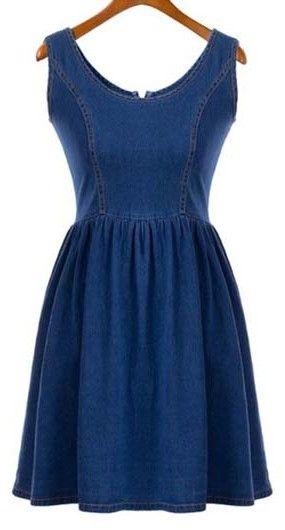 Round Neck Sleeveless Denim Dress with Zip