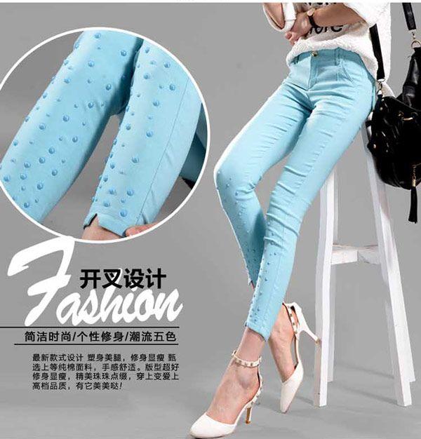 Celana Ketat Wanita Katun Stretch Biru 200K