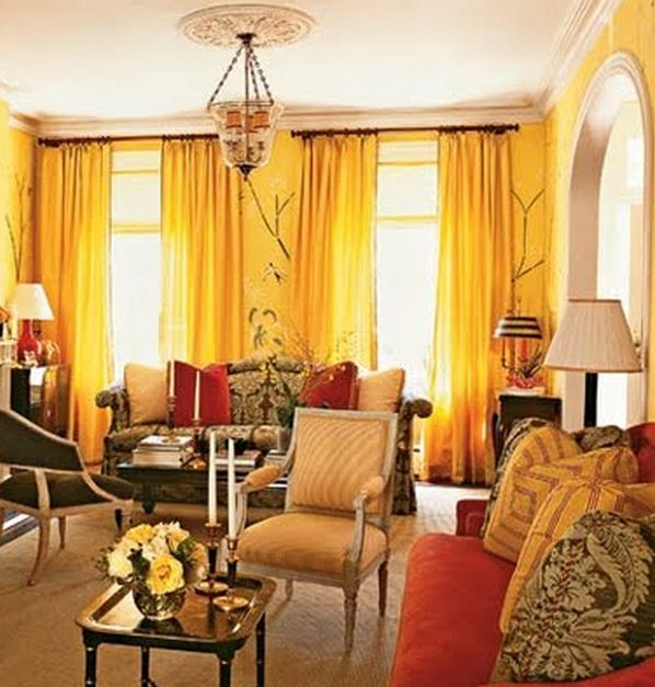 Traditional Style Living Room Decorated In Warm Yellows And Oranges. Part 97