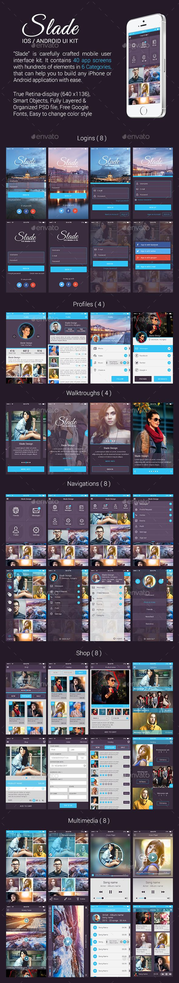 Slade iOS / Android UI Kit (User Interfaces)