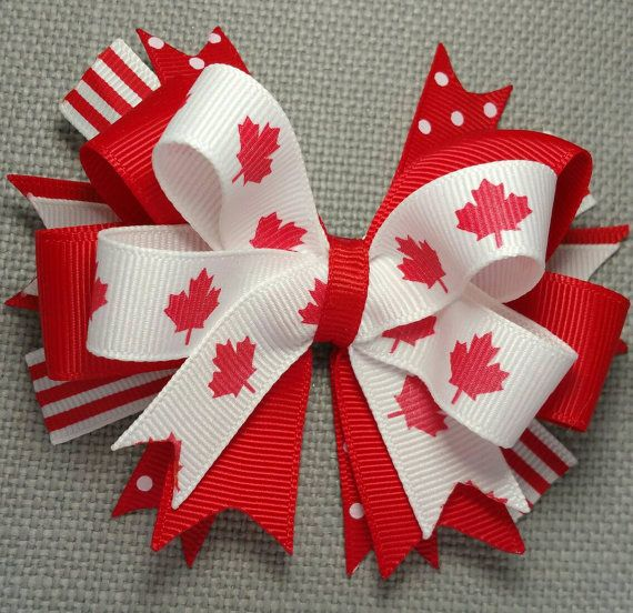 Check out this item in my Etsy shop https://www.etsy.com/ca/listing/232467649/patriot-bow-canada-flag-red-leaf-bow