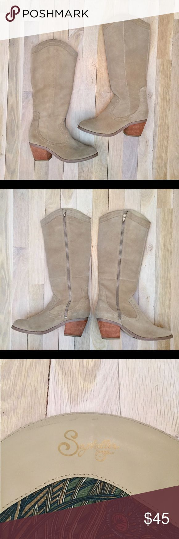 Seychelles Boots These boots were made for walking! These Seychelles boots are Cowgirl boot inspired with a classy twist complete with tan suede exterior and wood heel. Seychelles Shoes Heeled Boots