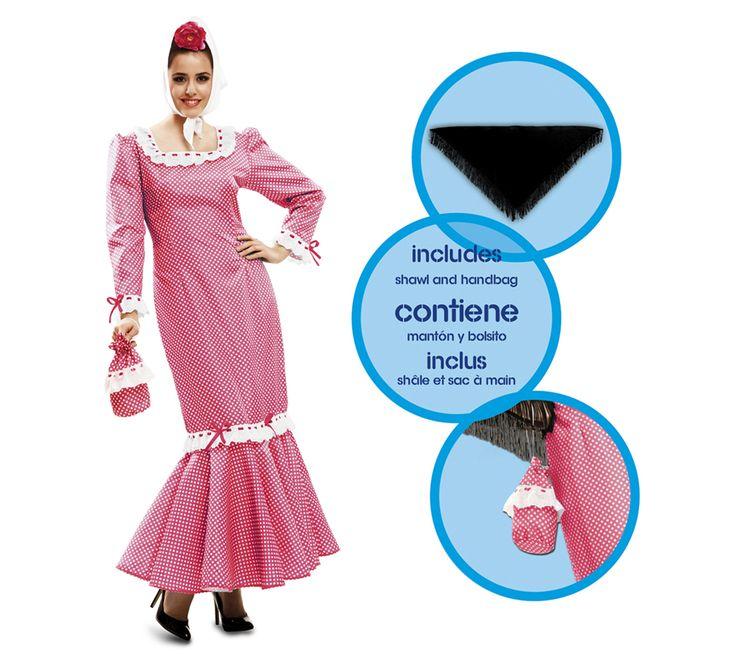 Disfraz de #chulapa o #madrileña rosa para mujer. #SanIsidro #Madrid #FeriadeSanIsidro #Disfraz