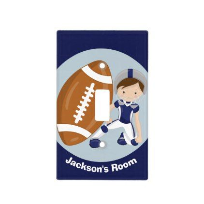 Cool Blue Football Player Kids Room Light Switch Cover - kids kid child gift idea diy personalize design