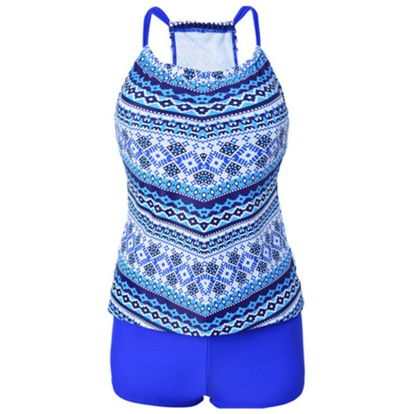 Women's Women Printed Racerback Tankini Top With Boy Short Two Pieces... ($13) ❤ liked on Polyvore featuring swimwear, bikinis, blue, swim suits, swimsuit tops, boy short bathing suits, boy short bikini and 2 piece bathing suits