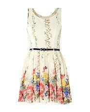 Cream (Cream) Parisian Cream Flower Print Chiffon Dress | 309057713 | New Look | £22.99