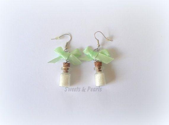 Handmade Sparkling White Glitter Dust in mini miniature glass bottles Bow Cute Gift DecoDen Kawaii Earrings silver plated Hooks Girly girl