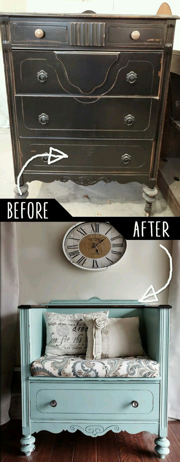 Turning a dresser into a seat with storage. Love this paint color and brown wax