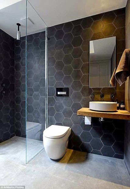 Great hexagon bathroom slate tile - black. Love the linear drain! You can't even see it.