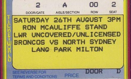 Broncos vs North Sydney, Lang Park, Brisbane 1989.