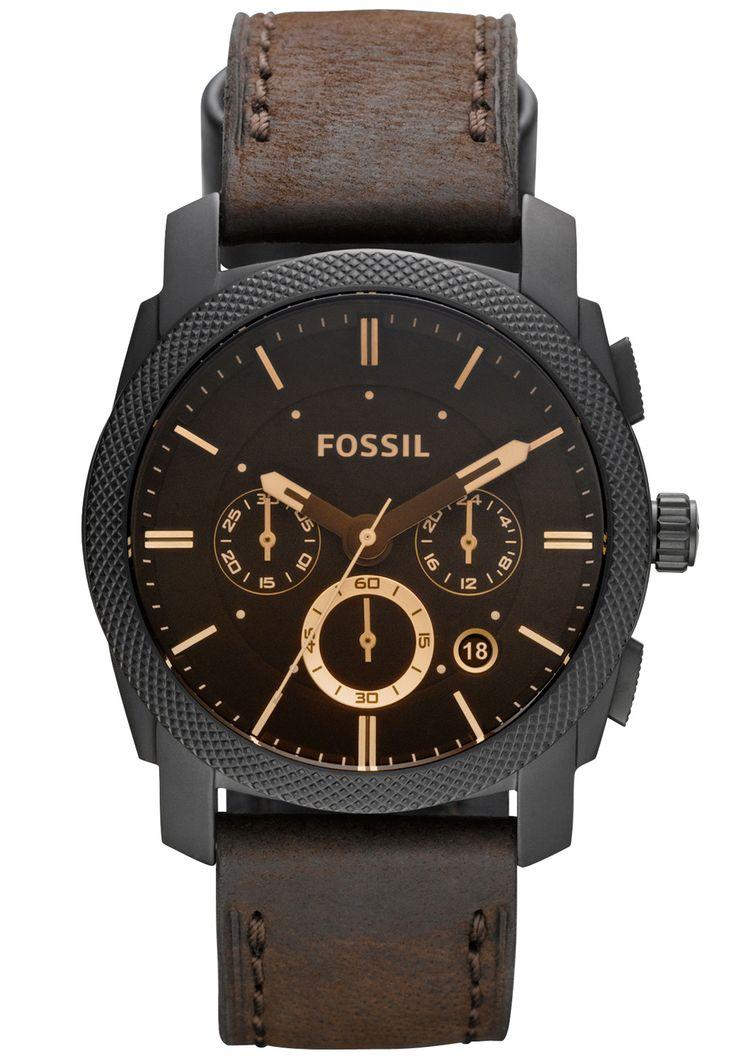 Fossil herren armbanduhr chronograph quarz leder jr1487