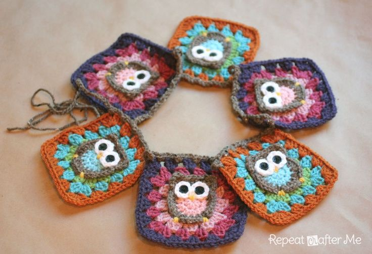 Repeat Crafter Me: Owl Granny Square Crochet Pattern. Way too cute!