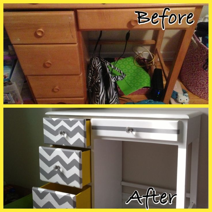 Chevron Desk. Repainted old desk to new. Grey Chevron stripes and yellow drawers. Crystal like knobs.