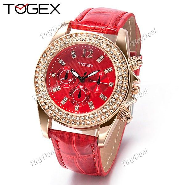 http://www.tinydeal.com/it/togex-quartz-rhinestone-women-watch-w-3-sub-dial-decor-p-116027.html  (ORAZIO) Moda PU pelle banda quarzo strass orologio da polso analogico orologio w / 3 sottoquadrante Decor f donne WWT-272175
