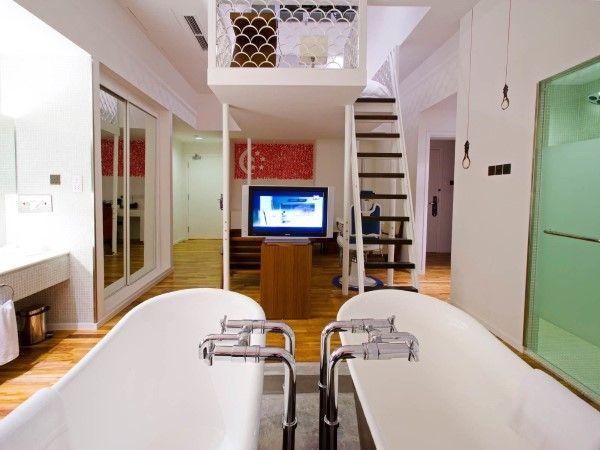 Tinas De Baño Negras:224) New Majestic Hotel, Singapur Los cuartos de baño con tinas de