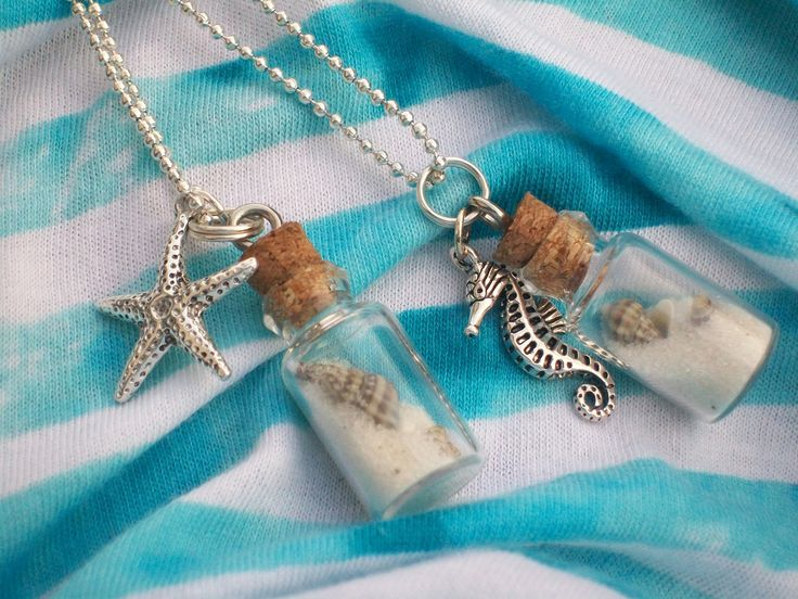 Beach In A Bottle Necklace with Sterling silver charm. $15.00, via Etsy. Find beach bottles, mini glass bottles, beach glass. charms, pearls  chains at www.eCrafty.com #ecrafty #beachbottlenecklace #diycrafts
