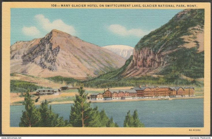 Many Glacier Hotel, Swiftcurrent Lake, Montana MT, USA, 1934 - Keenan News Agency Postcard