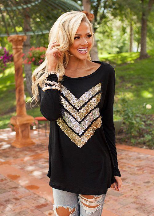 Online boutique. Best outfits. Hot Sparkly Chevron Tunic Black - Modern Vintage Boutique