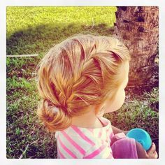 Toddler hairstyle: side braid into sock bun. Adorable! @Sarah Smith Em's hair would look amazing like this!!!!