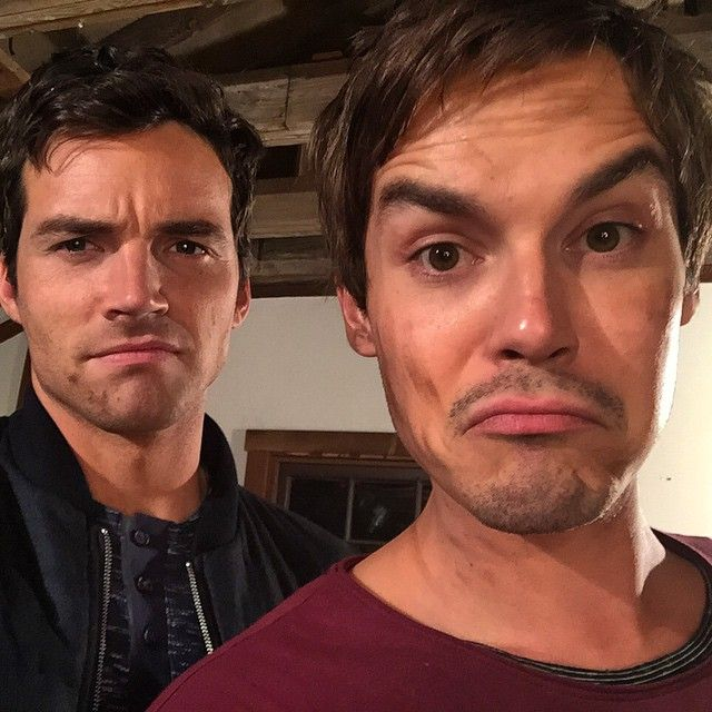 Ian Harding and Tyler Blackburn take a selfie while on the set of Pretty Little Liars.