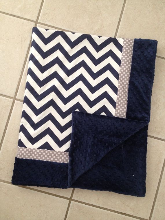 Baby blanket navy blue chevron Gray dot minky by Briteshasblankets, $54.99