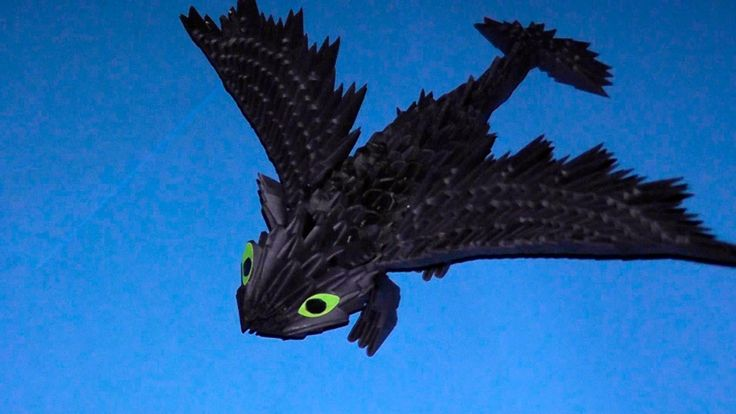"3D origami dragon Night fury (Toothless) tutorial (instruction) - Published on Jun 27, 2014 3D origami dragon Night fury (Toothless) tutorial (instruction) http://3d_origami.bringingsuccess.ru  This video shows how to make volumetric dragon Night fury of carton ""How to Train Your Dragon"" in the art 3D origami. This model made with their own hands surely appeal to all lovers of this cartoon. If you have friends or acquaintances who are very fond of ""How to Train Your Dragon"", then do the Nigh"