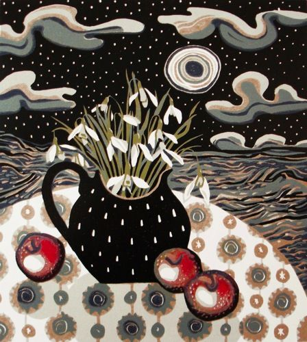 """""""Snow and apples"""" Linocut Edition:16 Image size 255x 285mm £255.00"""