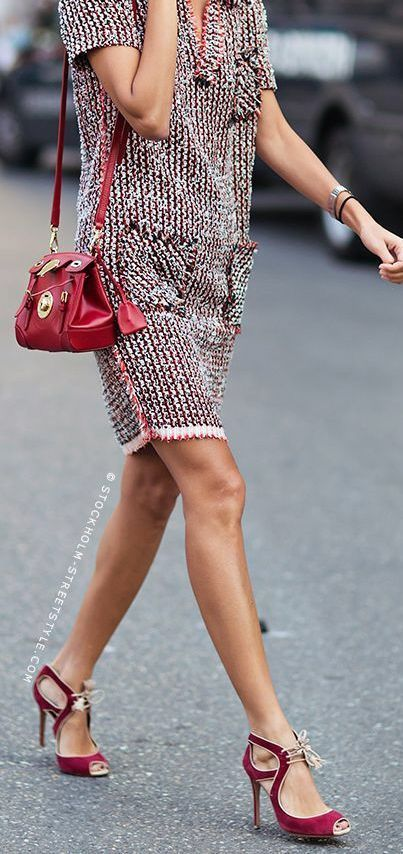 Party shoes and tweed - an unusual combination but it works because the colour pulls it together - see more on how to wear colour http://www.lookingstylish.co.uk/category/wearing-colour-2/