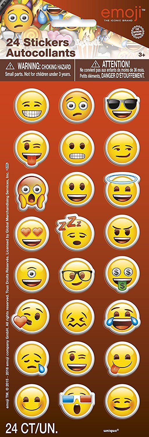 Emoji Party Supplies - Emoji Faces Puffy Stickers, 24ct, Party Favors - Amazon Canada