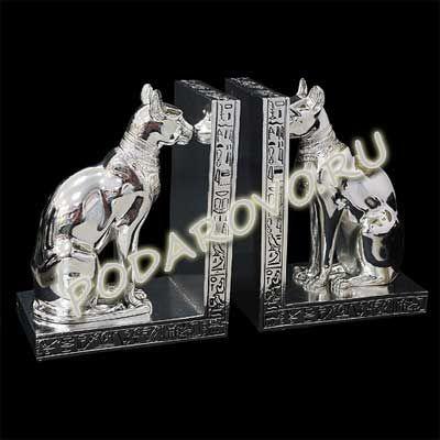Книжная подставка с фигурами египетских кошек цвет серебро подарочная упаковка Размеры: h 18 cm, 8.5 x14 cm