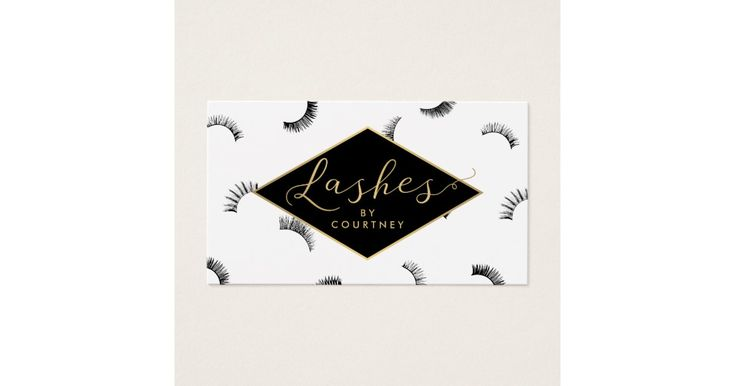 """A fun assortment of eyelashes fills the background of this beauty-themed business card template. Faux gold graphical text spells out """"Lashes"""" while your name is paired underneath for an instant logo. The lashes are reversed out on the back in gold along with your contact info. A unique design created for lash extension salons, makeup artists, lash artists, lash bars, cosmetic companies and more. Please contact the designer for additional text options. This design is part of a collec..."""
