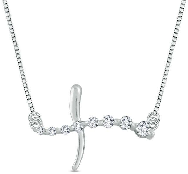 Zales 1/10 CT. T.W. Journey Diamond Sideways Cross Necklace in 10K White Gold