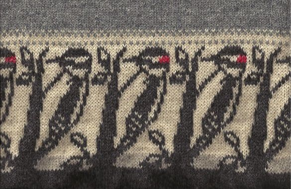 Motifs  wood pecker bird motif knit