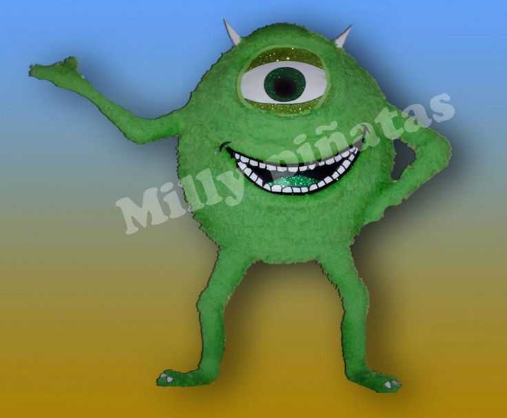 Piñata Mike Wazowski, mosters inc,  Milly Piñatas exclusivas