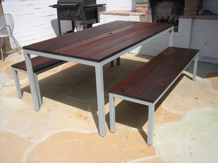 Venice Beach, CA Custom Made Outdoor Table With Powder Coated Gray And Ipe  Top.