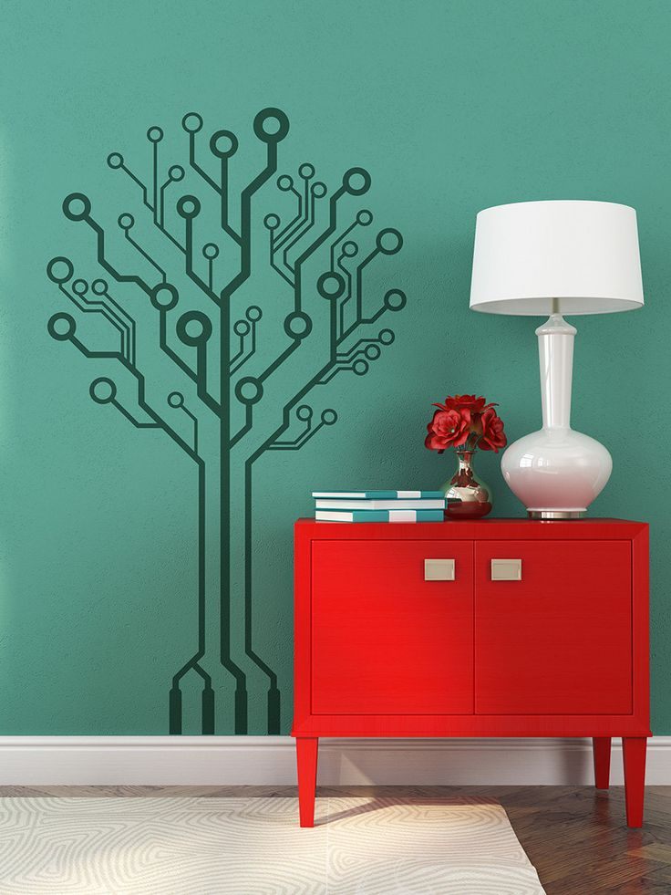 Circuit-Tree Ver 2.0 circuitry Geeks love nature too, Removable wall art computer wall art programmers computer geek gamers wall sticker by StreamlineDesign on Etsy
