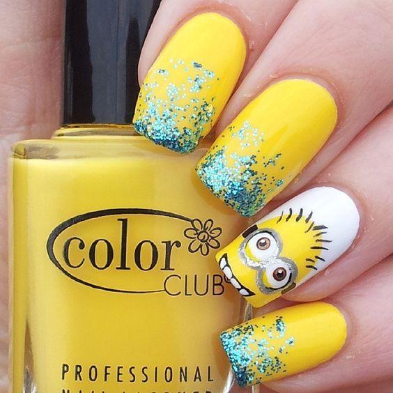 Instagram media by katiescreativenails - minion #nail #nails #nailart: