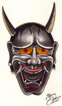 samurai oni mask tattoos hannya mask tattoo design by greg james snakes pinterest. Black Bedroom Furniture Sets. Home Design Ideas