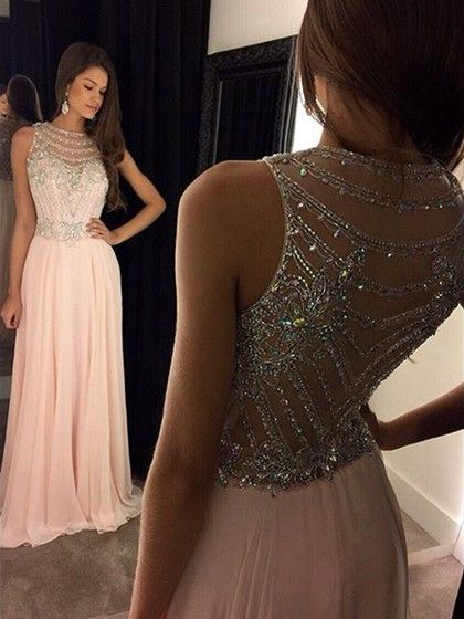 Pink Scoop Neck Chiffon Tulle with Crystal Detailing Modern Prom Dress £115.29