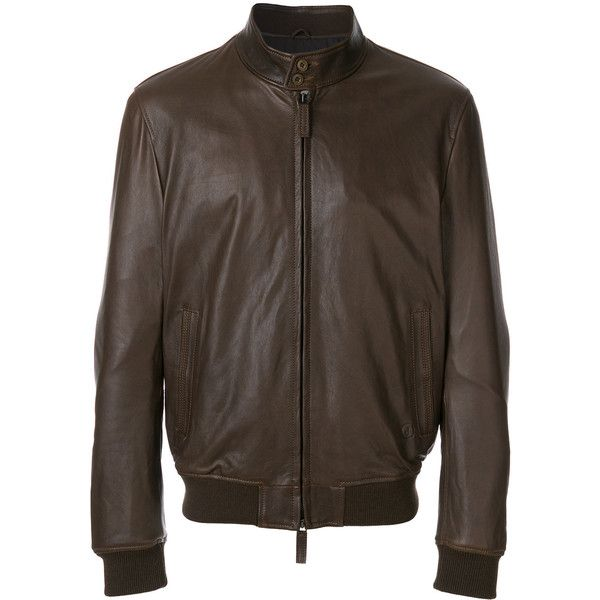 Jeckerson bomber style leather jacket (1.305 BRL) ❤ liked on Polyvore featuring men's fashion, men's clothing, men's outerwear, men's jackets, brown, mens real leather jackets, mens brown jacket, mens brown leather bomber jacket, mens bomber jacket and mens brown leather jacket