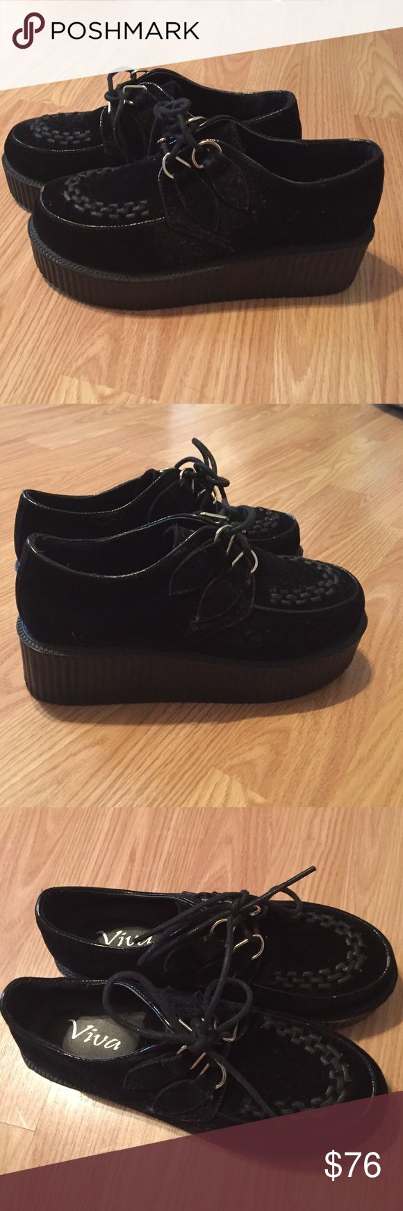Viva Black Suede Creepers Women's Size 7 Viva Black Suede Women's Creepers / Platforms Size 7 Gently Used Creepers Shoes Platforms
