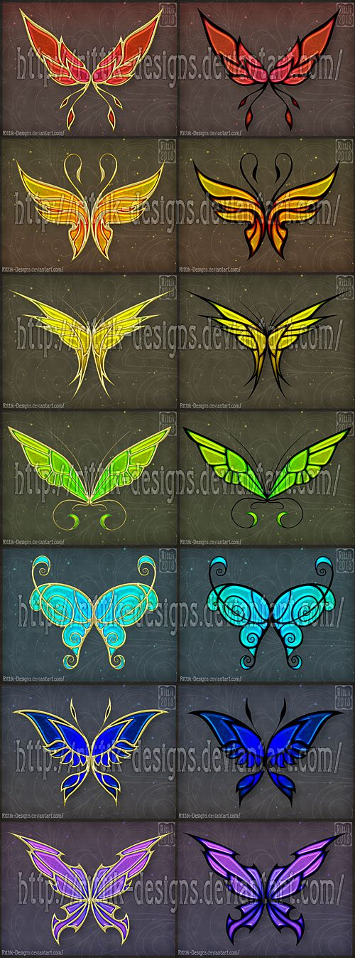 Golden Wings (set 1) by Rittik-Designs on DeviantArt