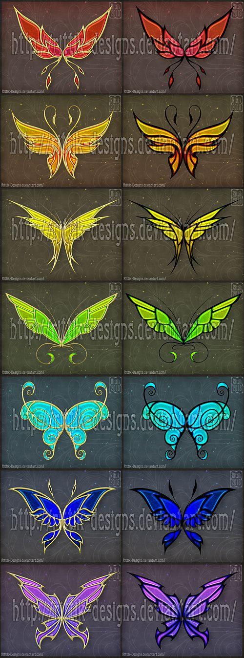 Golden Wings (set 1) by Rittik-Designs on DeviantArt