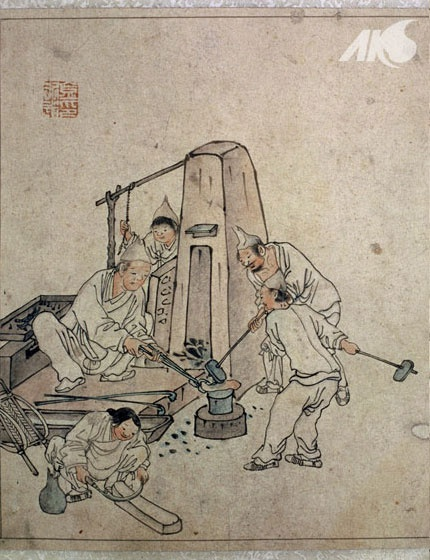 Painting of a blacksmith's shop, by Danwon Kim Hong-do - Joseon Korea